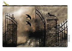 Gothic Surreal Fantasy Ravens Gated Fence  Carry-all Pouch by Kathy Fornal