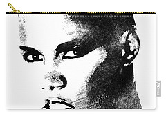 Grace Jones Bw Portrait Carry-all Pouch by Mihaela Pater