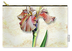 Carry-all Pouch featuring the painting Graceful Watercolor Iris by Irina Sztukowski