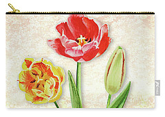 Carry-all Pouch featuring the painting Graceful Watercolor Tulips by Irina Sztukowski