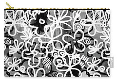 Carry-all Pouch featuring the mixed media Graffiti Garden - Art By Linda Woods by Linda Woods