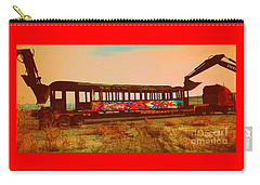 Carry-all Pouch featuring the photograph Graffiti Laden Rusted Out Saltair Train Car Scrapped February 18 2012 by Richard W Linford