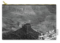 Carry-all Pouch featuring the photograph Grand Canyon 4 In Black And White by Debby Pueschel
