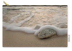 Carry-all Pouch featuring the photograph Grand Cayman Beach Coral Waves At Sunset by Adam Romanowicz