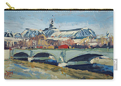 Carry-all Pouch featuring the painting Grand Palace In Winter Paris by Nop Briex