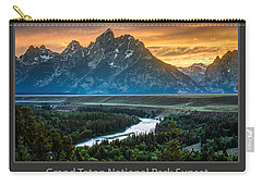 Grand Teton National Park Sunset Poster Carry-all Pouch by Gary Whitton