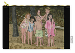 Carry-all Pouch featuring the painting Grandkids On The Beach by Ferrel Cordle