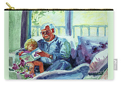 Carry-all Pouch featuring the painting Grandpa Reading by Kathy Braud
