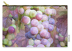 Carry-all Pouch featuring the mixed media Grapes Of Many Colors by Carol Cavalaris