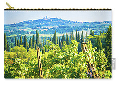 Carry-all Pouch featuring the photograph Grapevine In San Gimignano Tuscany by Silvia Ganora