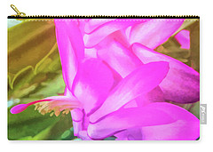 Carry-all Pouch featuring the photograph Graphic Rainbow Christmas Cactus Flower by Aimee L Maher Photography and Art Visit ALMGallerydotcom