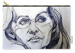 Graphite Portrait Sketch Of A Woman With Glasses Carry-all Pouch