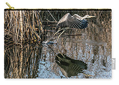Gray Heron Flew Up Carry-all Pouch by Odon Czintos