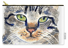 Gray Tabby Cat Watercolor Carry-all Pouch