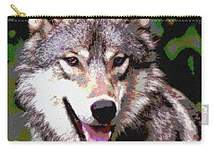 Carry-all Pouch featuring the mixed media Gray Wolf by Charles Shoup