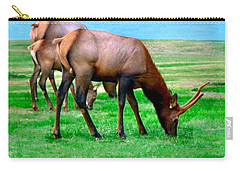 Carry-all Pouch featuring the photograph Grazing Elk by Sadie Reneau