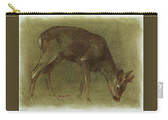 Grazing Roe Deer Oil Painting Carry-all Pouch