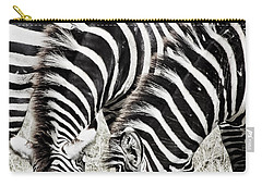 Grazing Zebras Close Up Carry-all Pouch by Darcy Michaelchuk