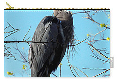 Carry-all Pouch featuring the photograph Great Blue Heron 001 by Chris Mercer