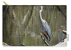 Carry-all Pouch featuring the photograph Great Blue Heron At Johnson Park by Ricky L Jones