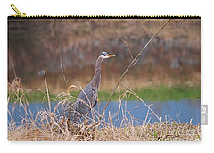 Carry-all Pouch featuring the photograph Great Blue Heron By The River by Sharon Talson