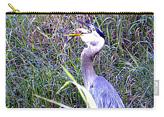Great Blue Heron Eating A Fish Carry-all Pouch by Chris Mercer