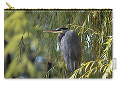 Great Blue Heron In A Willow Tree Carry-all Pouch by Keith Boone