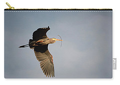 Carry-all Pouch featuring the photograph Great Blue Heron In Flight by Ann Bridges