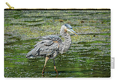 Great Blue Heron In Pond Carry-all Pouch
