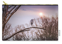 Great Blue Heron On A Dead Tree Branch At Sunset Carry-all Pouch