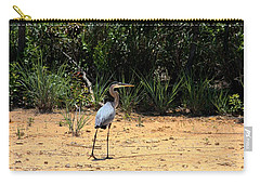 Carry-all Pouch featuring the photograph Great Blue Heron On Beach by Sheila Brown