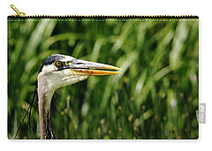 Carry-all Pouch featuring the photograph Great Blue Heron Portrait by Debbie Oppermann