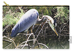 Great Blue Heron Ruffles Its Feathers Carry-all Pouch