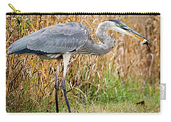 Great Blue Heron Struggling With Lunch Carry-all Pouch by Ricky L Jones