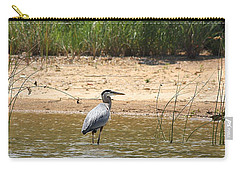 Carry-all Pouch featuring the photograph Great Blue Heron Wading by Sheila Brown