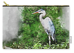 Great Blue Heron Watercolor Carry-all Pouch