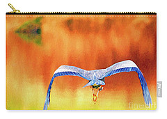 Carry-all Pouch featuring the digital art Great Blue Heron Winging It Photo Art by Sharon Talson