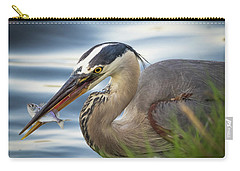 Great Blue Heron With Fish Carry-all Pouch