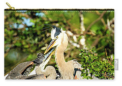 Great Blue Herons Adult With Young Carry-all Pouch
