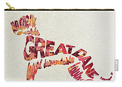Carry-all Pouch featuring the painting Great Dane Watercolor Painting / Typographic Art by Ayse and Deniz