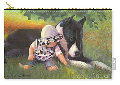 Carry-all Pouch featuring the painting Great Dane With Baby by Nancy Lee Moran