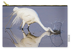 Great Egret Dipping For Food Carry-all Pouch