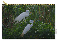 Great Egret Displays Windy Mating Plumage 2 Carry-all Pouch