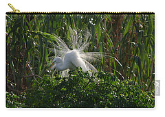 Great Egret Displays Windy Mating Plumage Carry-all Pouch