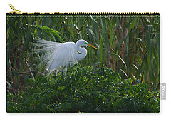 Great Egret Displays Windy Plumage Carry-all Pouch