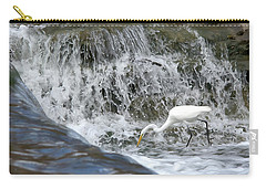 Great Egret Hunting At Waterfall - Digitalart Painting 1 Carry-all Pouch