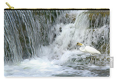 Great Egret Hunting At Waterfall - Digitalart Painting 3 Carry-all Pouch