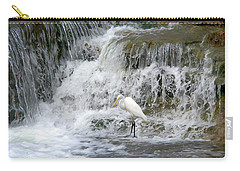 Great Egret Hunting At Waterfall - Digitalart Painting 4 Carry-all Pouch