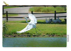Great Egret In A Left Banking Turn - Digitalart Carry-all Pouch