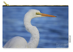 Great Egret In Blue Carry-all Pouch